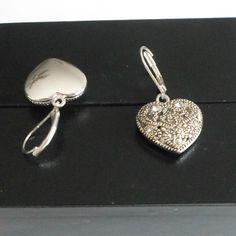 Heart earrings silvertone leverback pierced openwork dangle rhinestones #unbrandeed #DropDangle