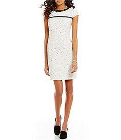 KARL LAGERFELD PARIS Tweed Short Sleeve Sheath Dress