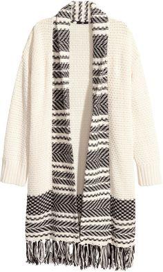 H&M - Jacquard-knit Cardigan - White - Ladies