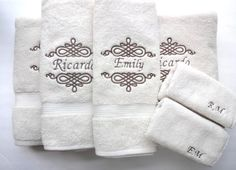 August AVE Towels give your bathroom an instant makeover! Contact us for Custom Orders. Here youll receive- **A Set of 6 Personalized Towels **Each Embroidered with the Name of your Choice **Cream Colored Towels with Dark Brown Embroidery **Premium 100% Cotton Towel **2 Washcloths- 13x13 **2 Hand Towels- 16x28 **2 Full Size Bath Towels- 30x54 **Quality Construction **Machine and Dryer Safe **Comes nicely wrapped with a ribbon and hang tag ready for giving or keeping! **Makes an excellent…