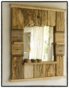 Decorative Mirror Driftwood Mirror Beach Cottage by MarzaShop, $80.00