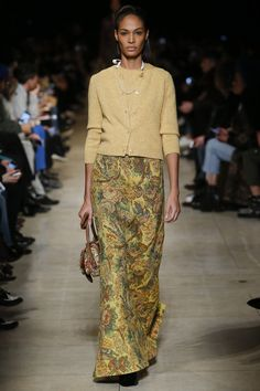 Miu Miu Fall 2016 Ready-to-Wear Fashion Show - Joan Smalls (IMG) long straight brocade skirt, with matching straight 3/4 length sleeves, slightly nipped waist round color and buttons.