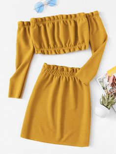 Shop Frill Trim Knit Crop Top With Skirt online. SHEIN offers Frill Trim Knit Crop Top With Skirt & more to fit your fashionable needs. Crop Top And Shorts, Crop Top Outfits, Cute Casual Outfits, Stylish Outfits, Summer Outfits, Crop Tops, Summer Shorts, Girls Fashion Clothes, Teen Fashion Outfits