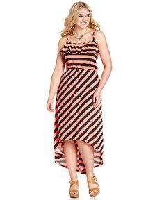 Extra Touch Plus Size Sleeveless Striped High-Low Maxi Dress - Plus Size Dresses - Plus Sizes - Macy's
