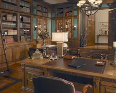 Very close to my dream home library! I would change out the desk and some of the other details to make it more my style, but the layout and color scheme is perfect! Love!