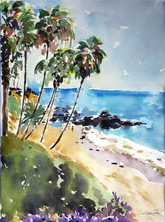 "Daily Paintworks - ""Laguna beach, California"" - Original Fine Art for Sale - © Lisa Fu"