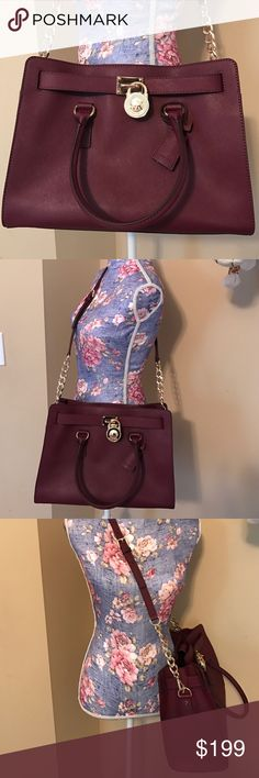 Michael Kors Bag Brand new without tags burgundy Michael Kors Large Saffiano Hamilton Satchel. Bag has never been used. Perfect for Fall look. KORS Michael Kors Bags Satchels