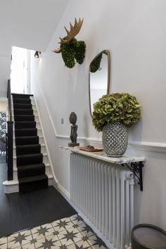 Entry Hallway Floor Hallway Tile Ideas Hall With Narrow Hallway Tiled Floor Narrow Hallway Home Entryway Decor Radiator Shelf, House Entrance, Victorian Hallway, Hall Decor, Entryway Decor, Hallway Flooring, House Interior, Home Renovation, Entrance Decor