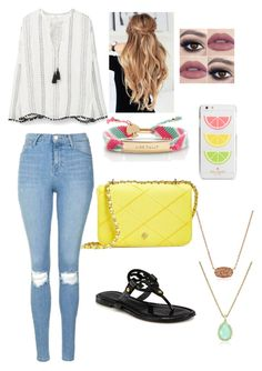 """""""summer love"""" by mkhays ❤ liked on Polyvore featuring MANGO, Topshop, Tory Burch, Kate Spade and Kendra Scott"""