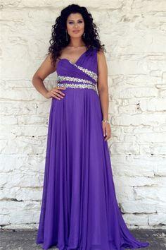 A Line One Shoulder Long Purple Chiffon Beaded Corset Plus Size Formal Prom Dress