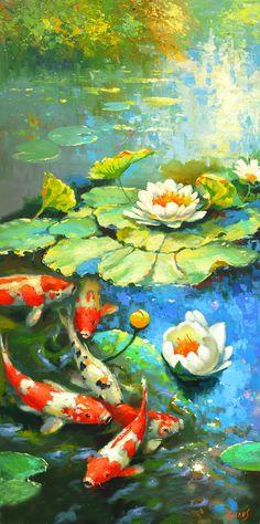 La noche del estanque   olio Cuchillo de Paleta la Pintura