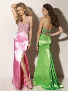 Column Floor Length Halter Open Back Pink Or Apple Green Ed1046 Beads High Slit Evening Dress EVD096 www.tidebridaldresses.com $192.0000