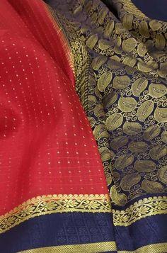 Red Handloom Mysore Crepe S... Red Fabric, Silk Fabric, Woven Fabric, Crepe Silk Sarees, Silk Crepe, Mysore Silk Saree, Alexander Mcqueen Scarf, Lady, Clothes