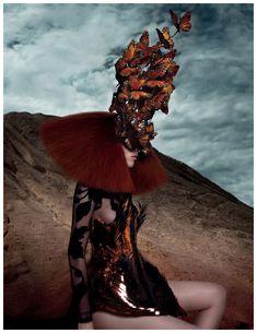 Daniele Duella wearing a Philip Tracy headpiece, 2012. Photo by Karen Elson.