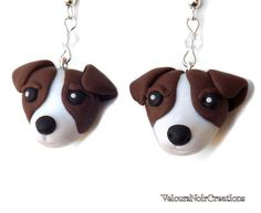 Jack Russell terrier earrings handmade in polymer clay without the use of molds, embellished with clear crystals