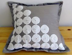 Grey scatter cushion cover with white lace crochet circle detail and oxford borders