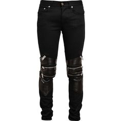 Saint Laurent zip detail jeans (€1.520) ❤ liked on Polyvore featuring men's fashion, men's clothing, men's jeans, black, mens leather jeans and mens rock and roll jeans