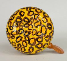 """""""Leopard Pattern"""" Bicycle Bell with yellow and light brown contrasting colours. Hand-Painted with glossy smooth finish. Resistant to all types of weather. Bicycle Bell, Leopard Pattern, Mark Making, Being Ugly, Smooth, Weather, It Is Finished, Hand Painted, Colours"""
