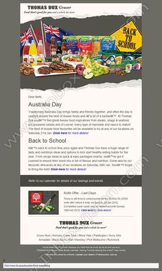 Company: Thomas Dux Grocer   Subject: Australia Day with Thomas Dux         INBOXVISION, a global email gallery/database of 1.5 million B2C and B2B promotional email/newsletter templates, provides email design ideas and email marketing intelligence. www.inboxvision.c... #EmailMarketing  #DigitalMarketing  #EmailDesign  #EmailTemplate  #InboxVision  #SocialMedia  #EmailNewsletters