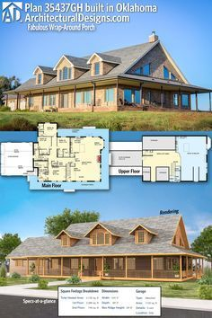Our client built Architectural Designs House Plan 35437GH with a brick exterior and the garage modified to be front-facing in Oklahoma. This 4-bed home gives you over 4,100 square feet of heated living space. Make desk area another closet for master or storage closet in the hall.