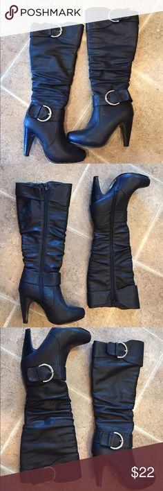 Black Faux Leather Boots Black faux leather zip up boots with animal print lining. Silver buckle hardware around the ankle and at the top of the boot. Great classic boot for any closet! Charlette Russe Shoes Heeled Boots
