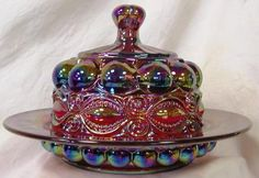 Ruby Red Carnival Glass Round Domed Butter Dish ~ Eyewinker Pattern by Mosser Glass, Antique Dishes, Antique Glassware, Carnival Glass, Butter Dish, Butter Crock, Butter Cheese, Vintage Carnival, Indiana Glass, Crystals