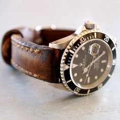 Rugged distressed leather Rolex
