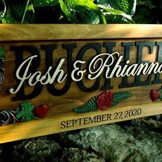 We have a new rose graphic available for our wedding / anniversary/ family plaques. Wooden Plaques, Wooden Signs, Wedding Anniversary, Anniversary Gifts, Important Dates, Personalized Wedding Gifts, Save The Date, Our Wedding, Carving