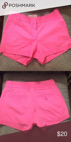 Hot pink cotton short Worn once! Perfect condition. J. Crew Shorts