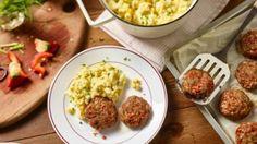 Paprika-Frikadellen mit Kartoffel-Mais-Stampf
