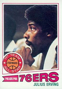 julius erving basketball cards | 1977 Topps Julius Erving #100 Basketball Card