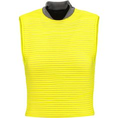 Alexander Wang Cropped neoprene and jersey top ($395) ❤ liked on Polyvore featuring tops, crop top, bright yellow, yellow jersey, ribbed top, turtle neck crop top, yellow top and ribbed turtleneck