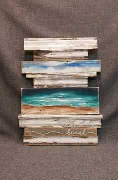 Beach Pallet Wall Art, One-of-a-kind, Sculpture, abstract beach, Upcycled barn wood, Rustic and Shabby Chic