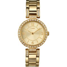 Timex Classics Crystal Collection Womens Gold Tone Stainless Steel Bracelet Watch ** To view further for this item, visit the image link. Stylish Watches, Cool Watches, Luxury Watches, Timex Watches, Women's Watches, Wrist Watches, Watches Online, Fashion Watches, Diamond Stores