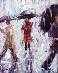 """Rain, Rain"" ~ impressionistic oil painting by Alabama artist Gina Brown"