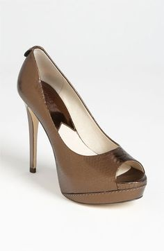 MICHAEL Michael Kors 'Josie Peep' Pump available at #Nordstrom  you can use these as nude, brown, or metalic.  i really like this as a high going out shoe!  they will work with a ton of stuff