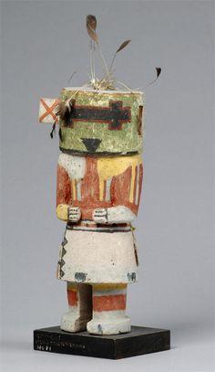 """Wupa-ala katsina  """"before 1934""""  Hopi  Hopi katsina (kachina) doll of Wupa-ala, before 1934. The Wupa-ala katsina, also known as the Long-Horned katsina, is a chief katsina. Collected by John L. Nelson. Subjects: chief kachinas, katsina imagery"""