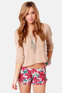 Hawaiian printed shorts with a slouchy sweater for Springtime.