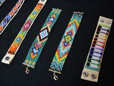 The time consuming and meticulous craft of Loom beading is a cross between weaving and stringing beads. Native Beadwork, Native American Beadwork, Seed Bead Patterns, Beading Patterns, Art Patterns, Native American Crafts, American Art, Bead Loom Bracelets, Woven Bracelets