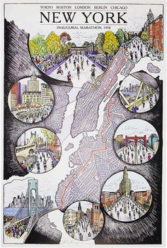 An illustrated map of the highlights of the New York marathon route.