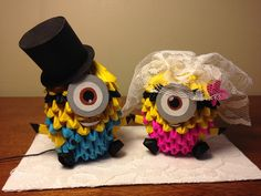 3d origami Bride and Groom Minions