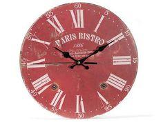 """OROLOGIO DA PARETE IN LEGNO """"PARIS"""" #orologio #watch #clock #decorazione #decoro #decorare #shabby #chic #boho #country #vintage #bohemian #paris #legno #wood #rosso #red #cucina #casa #salotto #home  www.dolci-idee.it"""
