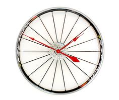Recycled Bike Wheel clock - Custom hand colours available. By Tread & Pedals