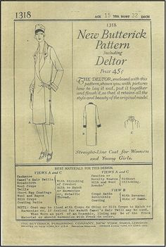 1920s Coat Sewing Pattern - Butterick 1318