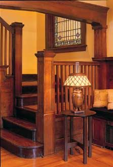 Decorating Your American Bungalow Style House Craftsman Home Interiors, Bungalow Interiors, Craftsman Interior, Bungalow Homes, Craftsman Style Homes, Craftsman Bungalows, Craftsman Staircase, Craftsman Decor, Craftsman Kitchen