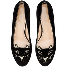 Charlotte Olympia Kitty Studs Flat In Black found on Polyvore featuring shoes, flats, black shoes, black flats, black leather flats, black cat flats and cat flats