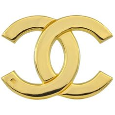 0234318433f We love theis Vintage Chanel CC Gold Brooch