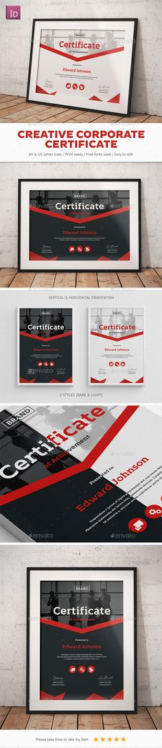 Certificate templates vector 15 x EPS Certificate Pinterest - Creative Certificate Designs