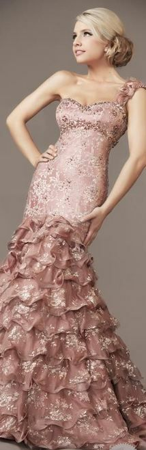 MacDuggal - Sweet Pastel Pink Gown #josephine#vogel  Beautiful gown - dorky model  what's with that pose!  Seriously.  Try it and see how silly you feel.
