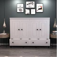 Room and Loft Rolling Queen Murphy Bed with Mattress Color: White Queen Murphy Bed, Murphy Bed Desk, Murphy Bed Plans, Murphy Furniture, Murphy Bef, Diy Murphy Bed, Queen Loft Beds, Modern Murphy Beds, Wood